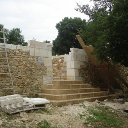 Creation of straight stairs and entrance pilars for enclosed garden after the Middle Ages style