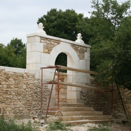 creation of a porch for an enclosed garden in the Dordogne